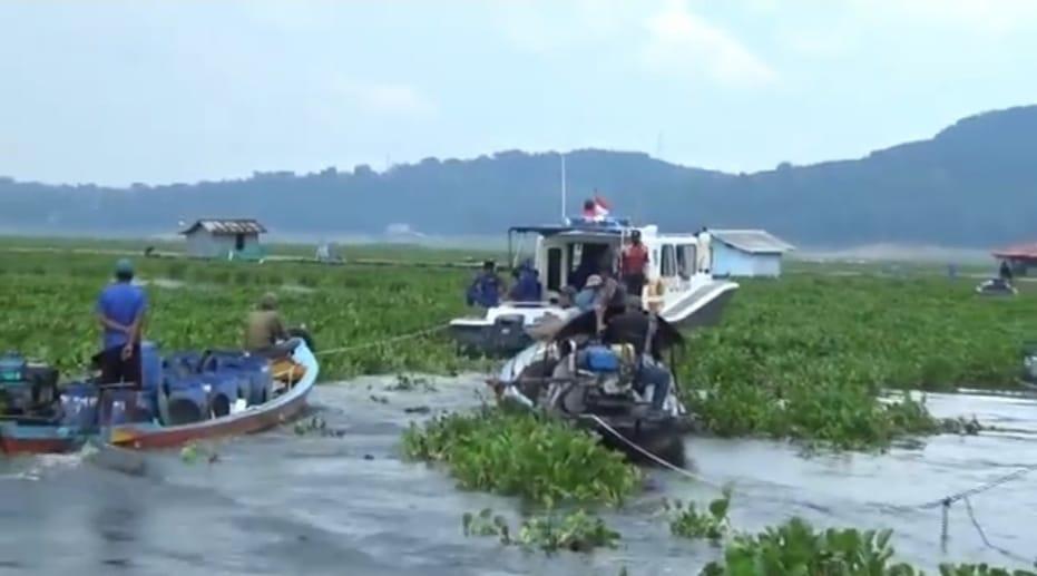 Perahu wisatawan dan warga terjebak eceng gondok di Waduk Jatiluhur berhasil dievakuasi