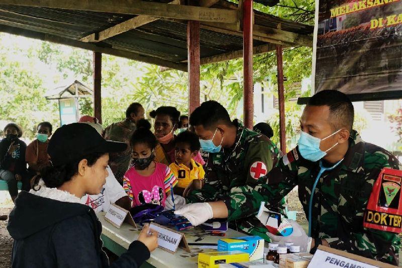 Satgas TNI beri layanan kesehatan untuk warga perbatasan RI-PNG