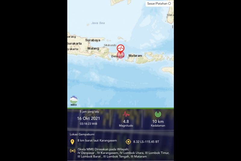 Gempa M 4,8 Bali akibat sesar lokal, timbulkan sejumlah kerusakan