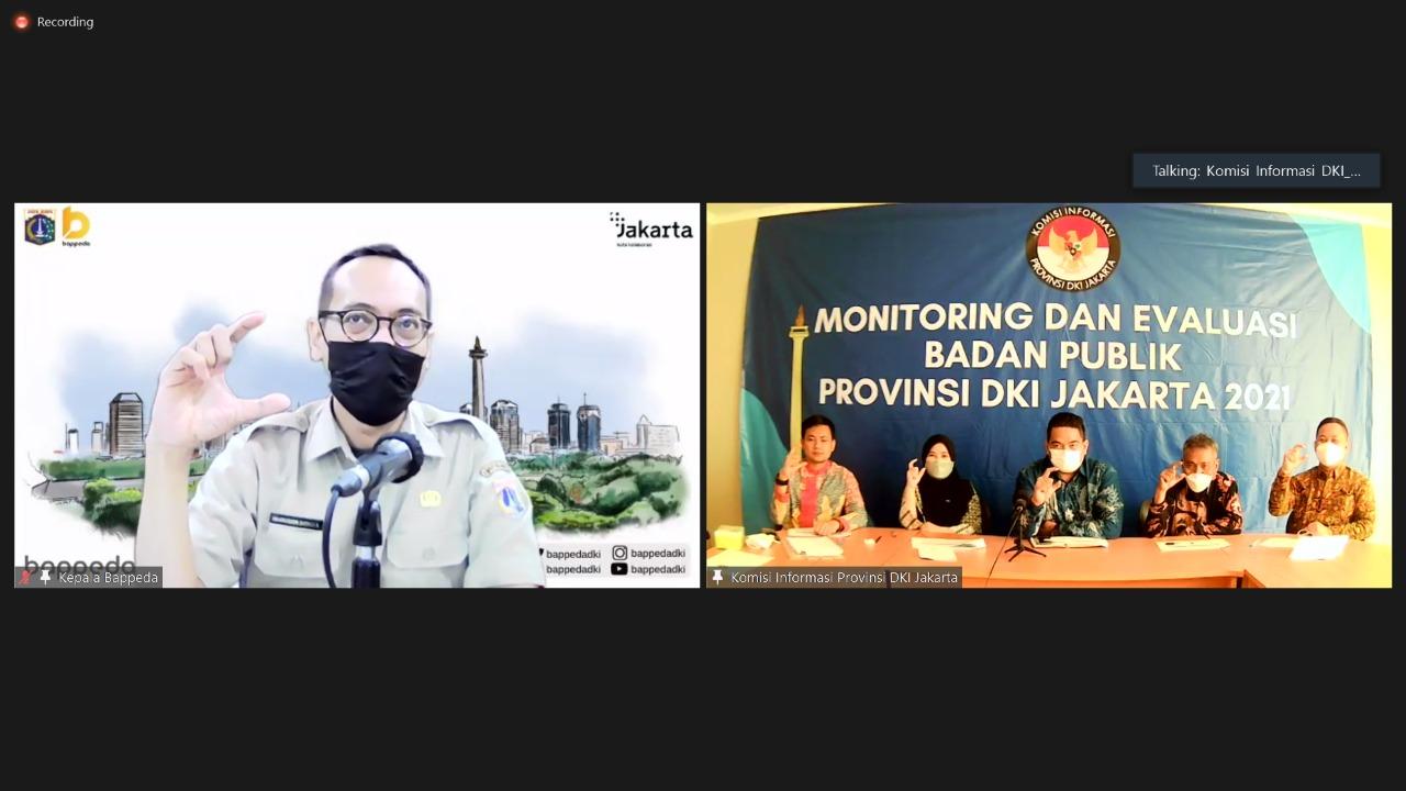 Tiga nominator terbaik Monev Badan Publik dinilai KI DKI Jakarta melalui zoom meeting