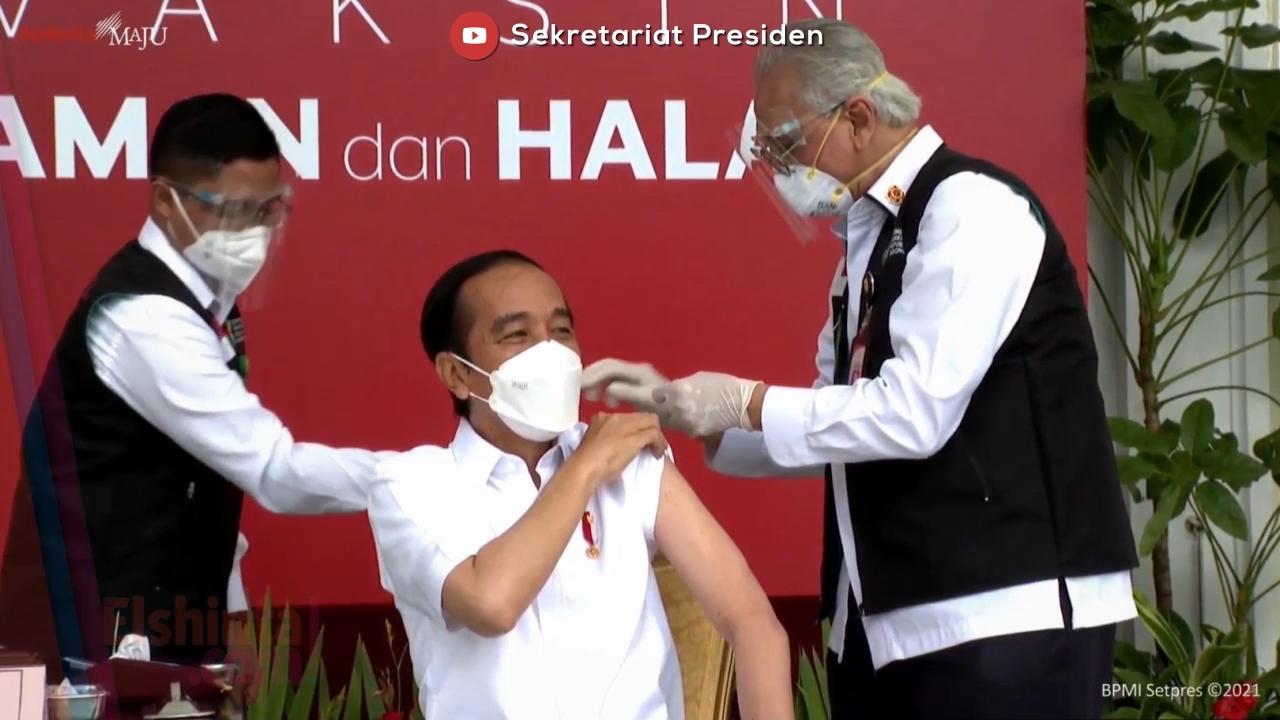 Presiden Joko Widodo saat divaksin: Nggak terasa!